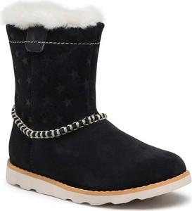 Czarne buty dziecięce zimowe Clarks dla dziewczynek
