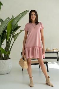 Różowa sukienka Jomu mini trapezowa