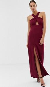Fioletowa sukienka Ax Paris z dekoltem halter