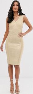 Złota sukienka Lipsy bandażowa midi