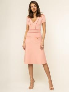 Różowa sukienka Elisabetta Franchi z krótkim rękawem prosta