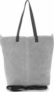 Torebki skórzane typu shopperbag firmy vera pelle jasno szare