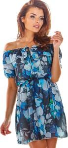 Niebieska sukienka Awama z szyfonu