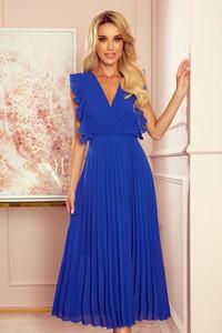 Niebieska sukienka NUMOCO z szyfonu z długim rękawem maxi