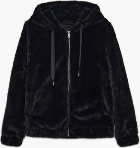 Cropp - Pluszowa kurtka z kapturem - Czarny