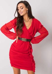Czerwona sukienka Sheandher.pl mini z dekoltem w kształcie litery v z długim rękawem