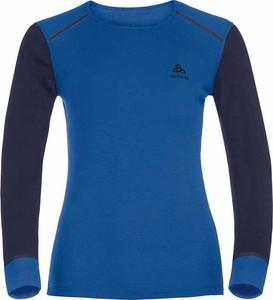 5f7b9563a4e0bd Koszulka Warm Shirt l/s Crew Neck Odlo (czarno-niebieska)