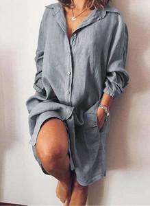 Sukienka Arilook mini z długim rękawem koszulowa