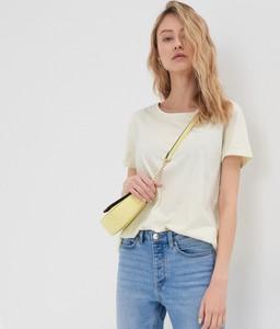 Żółty t-shirt Sinsay z okrągłym dekoltem w stylu casual