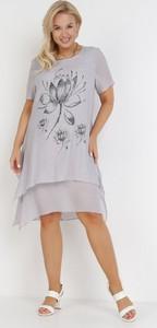 Sukienka born2be z okrągłym dekoltem mini z krótkim rękawem