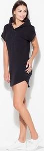 Czarna sukienka Katrus oversize w stylu casual z krótkim rękawem