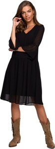 Sukienka Style z długim rękawem z tkaniny z dekoltem w kształcie litery v
