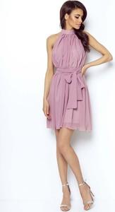 Różowa sukienka Coco Style z dekoltem halter bez rękawów