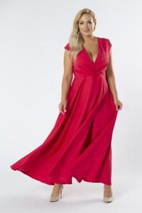 Czerwona sukienka Moda Dla Ciebie z dekoltem w kształcie litery v kopertowa
