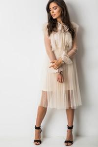 Sukienka Fashion Manufacturer trapezowa z długim rękawem z żabotem