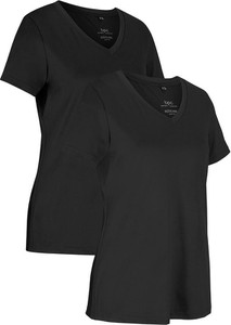 Czarny t-shirt bonprix w sportowym stylu z krótkim rękawem