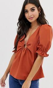 Pomarańczowa bluzka Asos z dekoltem w kształcie litery v z krótkim rękawem