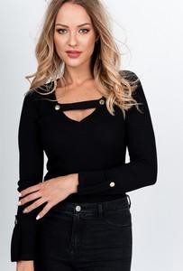 Czarna bluzka Zoio z bawełny z długim rękawem