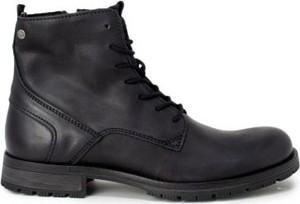 Buty zimowe Jack Jones sznurowane ze skóry