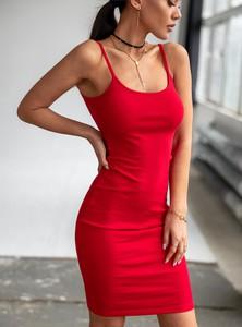 Czerwona sukienka SELFIEROOM z bawełny mini na ramiączkach