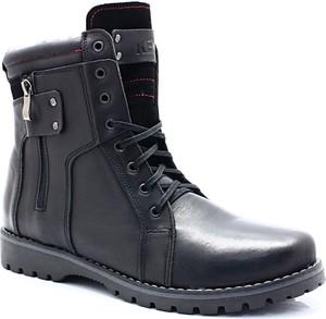 Granatowe buty zimowe Kent w militarnym stylu ze skóry
