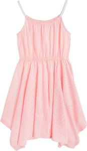 Różowa sukienka dziewczęca Cool Club z bawełny w paseczki