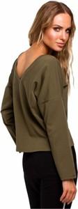Zielona bluzka MOE z długim rękawem w stylu casual