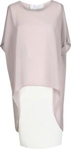 Fioletowa sukienka Fokus midi z tkaniny z krótkim rękawem