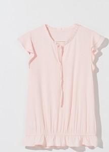 Różowa bluzka Mohito z okrągłym dekoltem w stylu casual