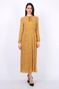 Żółta sukienka Ella Paris maxi z długim rękawem