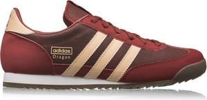 Czerwone buty sportowe Adidas Originals z zamszu sznurowane z płaską podeszwą