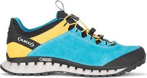 Turkusowe buty trekkingowe Aku sznurowane w sportowym stylu