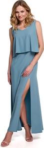 Niebieska sukienka Merg z okrągłym dekoltem maxi bez rękawów