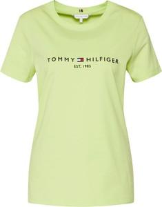 Żółta bluzka Tommy Hilfiger z tkaniny z okrągłym dekoltem z krótkim rękawem
