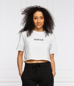 Bluzka Calvin Klein z okrągłym dekoltem w młodzieżowym stylu z krótkim rękawem