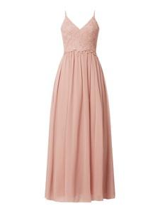 Różowa sukienka Mascara maxi rozkloszowana