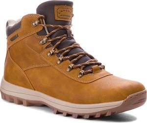 Brązowe buty zimowe Lanetti sznurowane ze skóry ekologicznej
