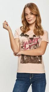 T-shirt Guess w młodzieżowym stylu z krótkim rękawem z okrągłym dekoltem