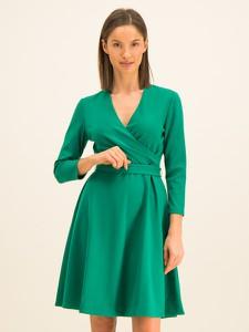 Zielona sukienka DKNY mini z dekoltem w kształcie litery v rozkloszowana