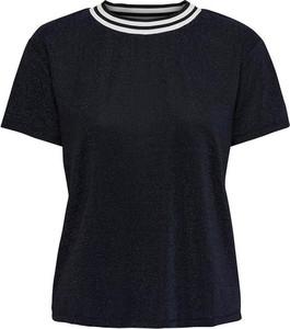 Czarny t-shirt Only w stylu casual z okrągłym dekoltem