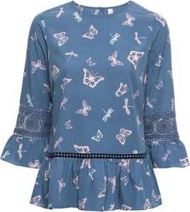 Błękitna bluzka bonprix RAINBOW w stylu casual z długim rękawem