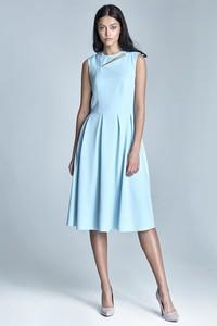 Niebieska sukienka Nife z okrągłym dekoltem bez rękawów