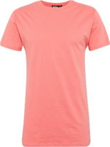 Różowy t-shirt urban classics z krótkim rękawem w stylu casual z bawełny