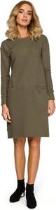 Zielona sukienka Merg z długim rękawem