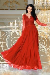 Czerwona sukienka Bicotone z dekoltem w kształcie litery v maxi rozkloszowana