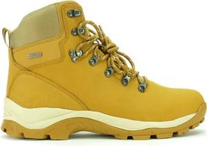 Żółte buty trekkingowe Atletico sznurowane ze skóry