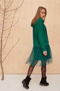 Zielona sukienka Blue Shadow z bawełny z długim rękawem mini