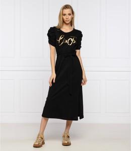 Czarna sukienka Liu-Jo z okrągłym dekoltem z krótkim rękawem