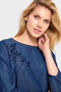 Niebieska bluzka Greenpoint z bawełny z długim rękawem z okrągłym dekoltem