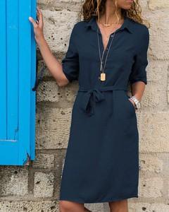Niebieska sukienka Kendallme w stylu casual szmizjerka